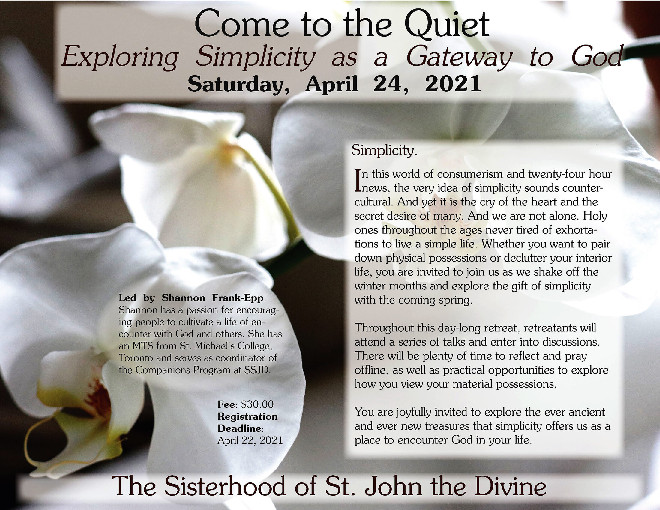 Come to the Quiet: Exploring Simplicity as a Gateway to God