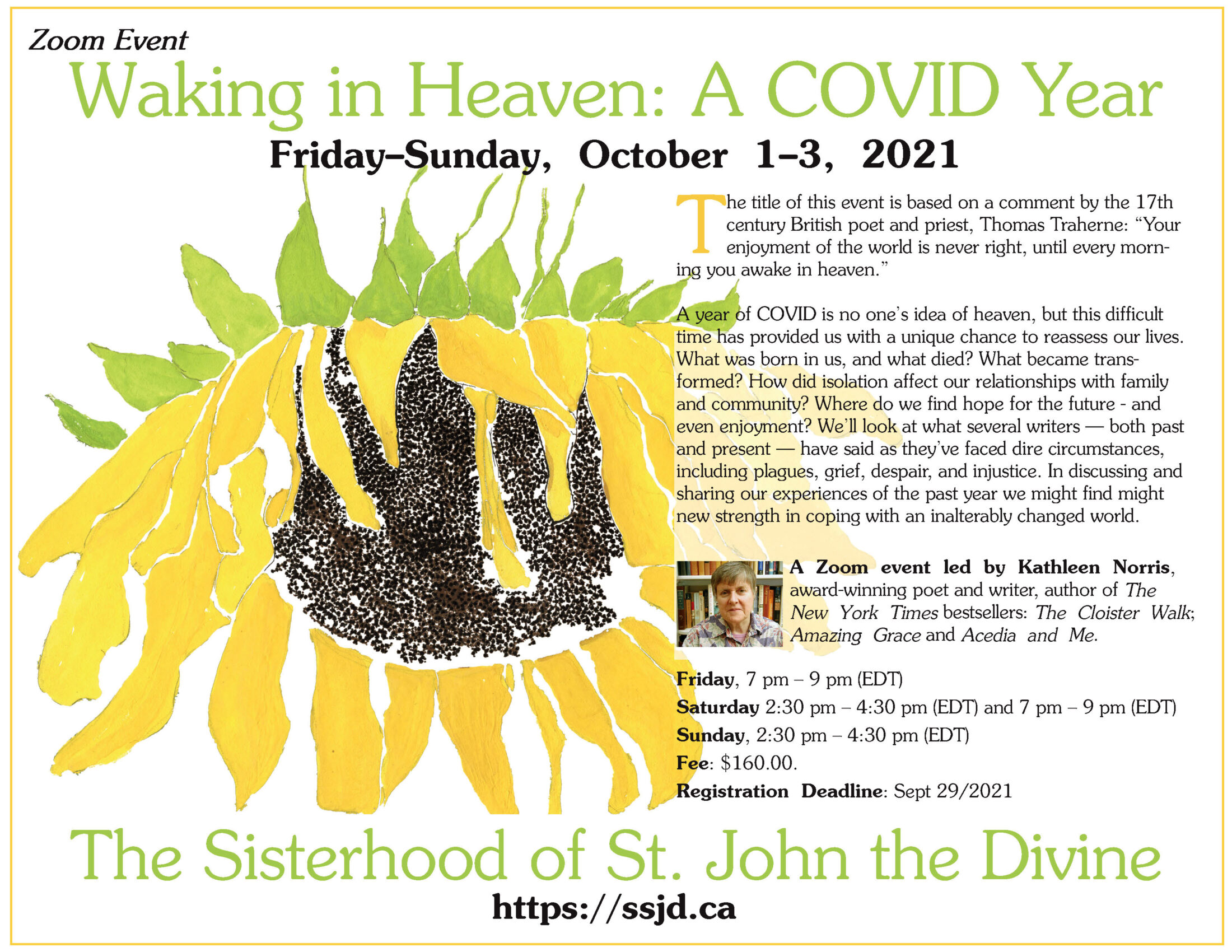 Waking in Heaven: A COVID Year. A Retreat with Kathleen Norris.